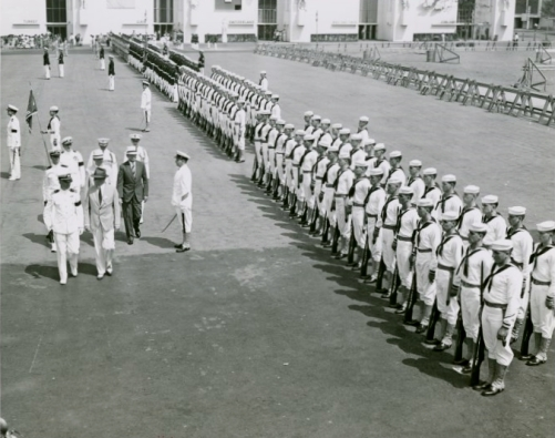 Puerto Rico Participation - Blanton Winship (Governor General) reviewing troops-1