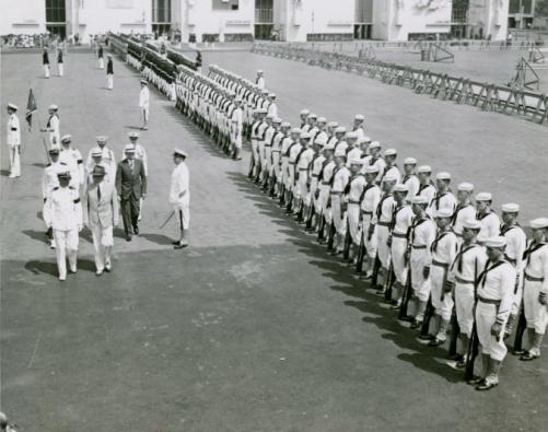 Puerto Rico Participation - Blanton Winship (Governor General) reviewing troops-1