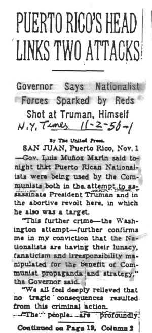 NYT Article - Gov Luis Munoz Marin