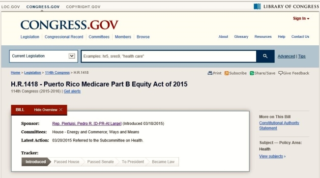 Pedro Pierluisi Medicare Part B Equity Act of 2015